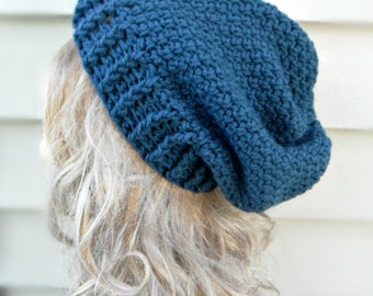 Blue Slouch Hat, Crochet Slouch Beanie,Womens Hat, Winter Hat, Hair Accessories, Womens Accessories