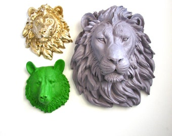 Set of 3: ANY Color 1 Large Lion Head and any 2 small animal heads Choose 2 from the 6 small faux wolf bear tiger lion elephant OR zebra