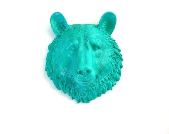 TEAL Small Faux Taxidermy Bear Animal Head wall mount wall hanging in teal home decor kids room nursery office den wall decor