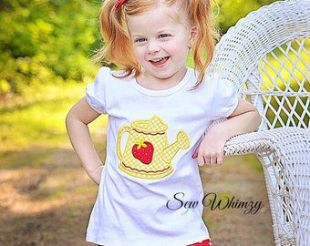 Watering can shirt- Strawberry shirt- Girls appliqued shirt- Girl Summer Shirt- Strawberry Watering Can- Ruffle Skirt- Monogram- Strawberry