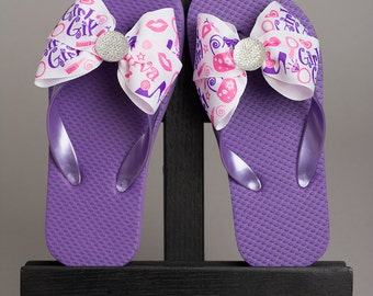 """Purple Girls Sandal with Pink & Purple """"Girly Girl"""" Bow"""