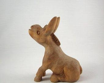 Vintage Hand Carved Wood Donkey, Stubborn Mule, Folk Art Burro, Signed