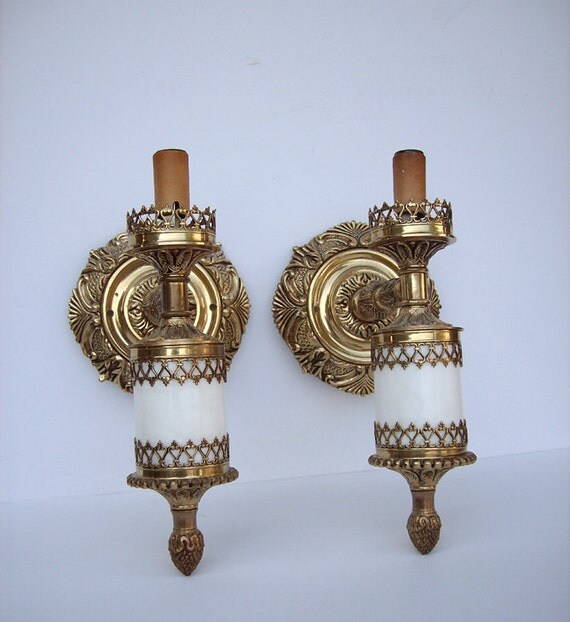 Vintage Moe Light Fixture: Vintage Moe Lights Wall Sconce Pair Solid Brass And By