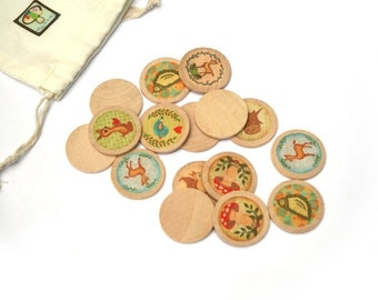 Woodlands Wooden Matching Game - Montessori Toys - Waldorf Toy - Eco Friendly Wooden - Travel Game