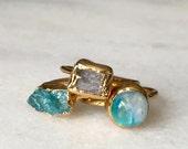 Stacking rings - Druzy ring - Gold dipped - Kunzite ring - Moonstone - Raw apatite