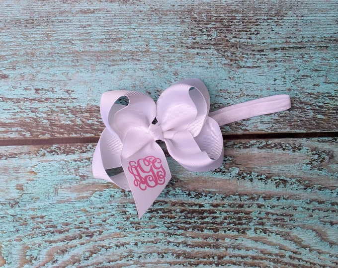 Glitter Monogram Hair Bow, Monogrammed Headband, Monogrammed gifts, Hair Bows for Girls, Boutique Hair Bow, Headband