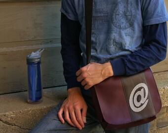 Man Bag 16 Burgundy Messenger Bag for Men Satchel Brown Stripe Gray At Sign