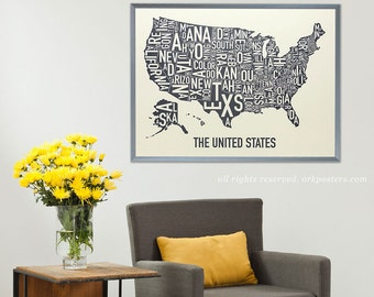 United States Typographic State Map