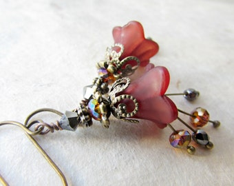Victorian Flower Earrings in Chocolate Cherry with Swarovski Topaz Crystals, Hematite Stones + Stamped Bronze. Lily Lucite Flower Earrings.