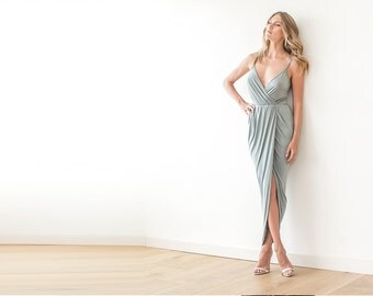 Sage green maxi wrap gown , Maxi straps sage dress