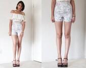 90's Handmade high waist floral pattern hot pants shorts