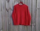 Vintage 90s Lauren Ralph Lauren Large Red Ribbed Rolled Neck Grunge Indie Alternative Festival Long Sleeve Preppy Prep Sweater