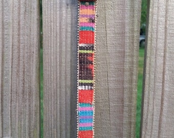 M L Medium Large Vintage Made in USA Colorful Embroidered Rainbow Ethnic Striped Hippie Indie Boho Belt