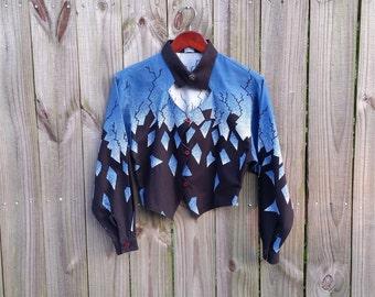 S Small Vintage Brooks & Dunn Button Up Black Blue Grey Western Halloween Gothic Rockabilly  Bat-Wing Long Sleeve Crop Top Cut Out Shirt