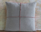 grey knit pillow cover // red pillow cover // geometric pillow // grey pillow cover //family room pillow //18X18 pillow cover //throw pillow