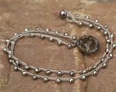 Crystal crochet necklace - boho layering semi precious jewelry, Pyrite gunmetal and smokey grey neutral chic by Mollymoojewels