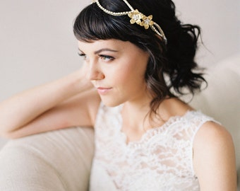 Double Flower Crystal Wedding Headpiece, Gold or Silver Crystal Bridal Headband #210HB