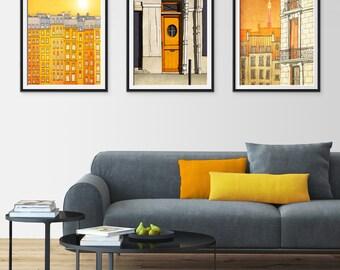 Any THREE Prints - Save 25%,Set of three Illustrations,Paris Art Print Poster Home decor Mixed media Nursery decor Kids wall art Gift ideas