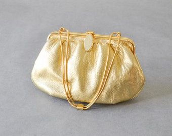 Vintage bag hand bag clutch satchel gold party wedding bride purse chain