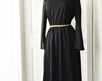 Vintage 70s black jersey dress/ wide turtleneck long sleeve dress/ A-line office dress