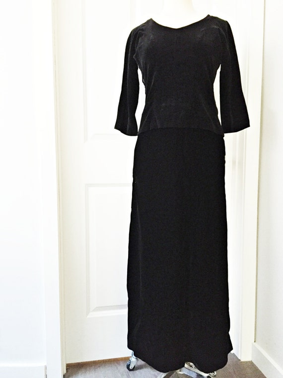 Vintage 60s black velvet skirt blouse set/ formal velvet dress