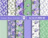 Blue Digital Paper, Floral Digital Papers, Rose Digital Scrapbooking Pack - Decoupage - 1931