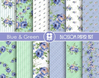 Floral Papers, Blue Green Floral Digital Paper Pack, Scrapbooking Rose Papers - INSTANT DOWNLOAD  - 1899