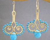 Chandelier swirl earrings choice of gemstones Luxe Bijoux 96