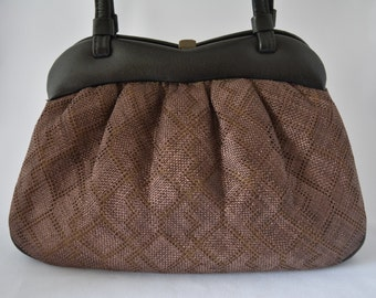 Black leather and brown silk handbag, vintage 1980s Japanese purse