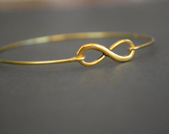 Infinity Gold Bangle Bracelet- Infinity Gold- Minimalist Jewelry- Personalized Custom Bangle- Bridesmaids Gift Ideas