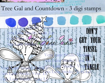 Tree Gal and Countdown - Quirky and whimsical Christmas fairies digi stamp set with quote
