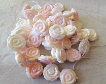 15mm Exquisite Pink Conch Shell Carved Rose, Carved All the Way Around, Pendant Bead, 1 Piece