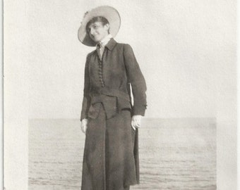 Old Photo Woman standing on Rock at Beach 1910s Photograph snapshot vintage