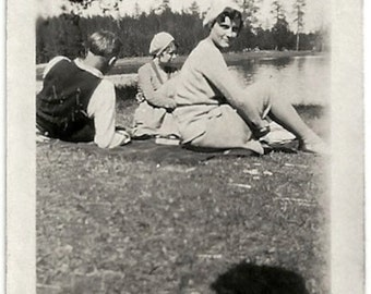 Old Photo Women man by Lake Photographers Shadow 1930s Photograph snapshot vintage