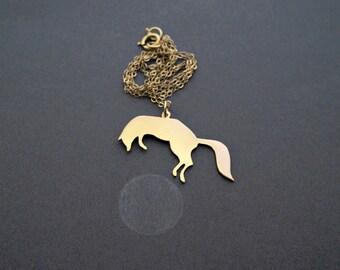 Fox Necklace - Fox Jewelry Gift - Gold Necklace - Gold Animal Necklace - Fox Art Jewelry - Fox Jewelry - Animal Jewelry - Woodland Jewelry