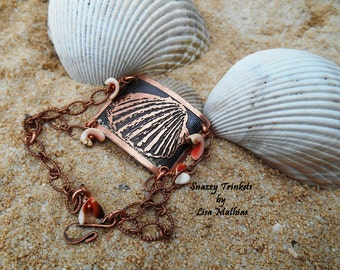 Sea Shell Bracelet, Beach Accessories, Etched Chain Bracelet, Adjustable Bracelet, Ladies Jewelry, Handmade Bracelet, Ocean Life, Copper
