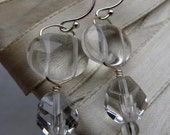 Icicle Earrings - quartz and Czech glass - clear