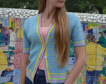 Short Sleeved Women's Sweater, Small, Light Blue Sweater, Scotch English Blue, Pink and Yellow Sweater, Acrylic Vintage Ladies' Cardigan, XS
