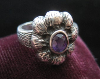 Purple Flower Ring Sterling Silver 925 Vintage Amethyst Stone Size 6