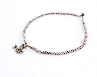 SALE Flourish Necklace with Dove - Mauve (004BR)