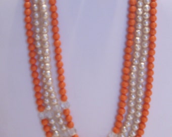 Four Strand Faux Coral and Pearl Bead Necklace and Matching Clip Earrings Made in Japan