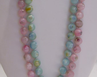 Two Thirty Inch Painted Bead Necklaces in Pink and Blue/Green