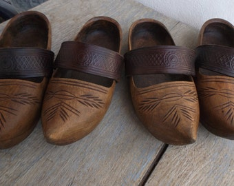 French Folk Art Clogs, Antique Artisan Wood Leather Childrens Clogs, 2 Available