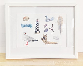 Beach, watercolor illustration - Giclee print, French seaside cottage decor - Lighthouse, seashells, gull, feather, seaweed - A4 print