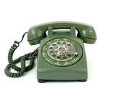 Vintage Telephone 1960's Avocado Green Rotary Dial  Western Electric