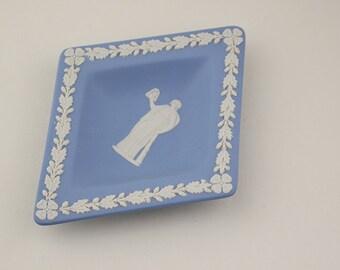 Blue and White Wedgwood Jasperware Diamond Shaped Dish Greek Design with Acorn Outer Pattern Matt Ceramic