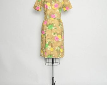 Vintage 1960s 60s Dress Cotton Floral Shift Pink Green Yellow