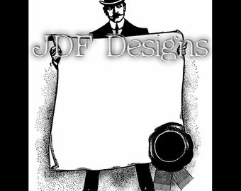 Instant Digital Download, Edwardian Era Graphic, Gentleman's Dandy Top Hat Frame Text Box, Printable Image, Scrapbook, Steampunk