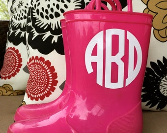 Kids Rain Boot Monogram Decal Vinyl Sticker Do It Yourself DIY-- Free Shipping