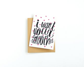 Long Distance Valentine's Day Card - Funny I Love You Card - Miss You Card - Valentine Card - Anniversary Card - I Want Your Smooches